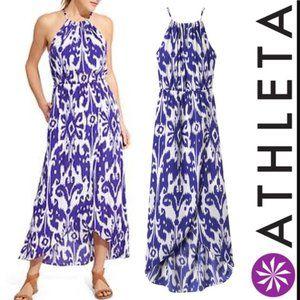 Athleta Ikat Maxi dress sz S Purple halter dress